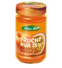 Allos Frucht Pur Pfirsich-Maracuja, 250 gr Glas  -75% Fruchtanteil-