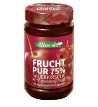 Allos Frucht Pur Kirsche-Rote Johannisbeere, 250 gr Glas -75% Fruchtanteil-
