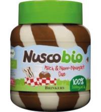 Nuscobio Milch & Nuss Nougat Duo, 400 gr Glas