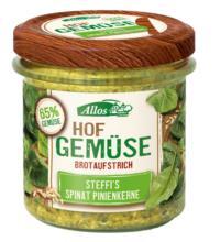Allos Hof-Gemüse Steffis Spinat-Pinienkerne, 135 gr Glas