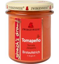 Zwergenwiese streich`s drauf Tomapeño, 160 gr Glas  - Tomate / Jalapeño -