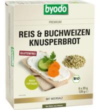 byodo Reis & Buchweizen Knusperbrot, 120 gr Packung -glutenfrei-