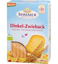 Sommer Dinkel Zwieback, ungesüßt, 200 gr Packung-mit 11% Dinkelvollkornschrot-
