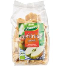 dennree Apfelringe, geschält & getrocknet, 125 gr Packung