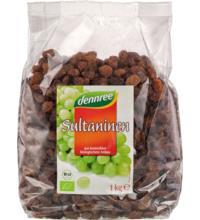 dennree Sultaninen, geölt, Türkei, 1 kg Packung