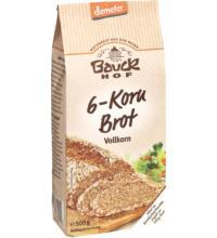 Bauck Hof 6-Korn-Brot, Vollkorn,Demeter500 gr Packung Demeter