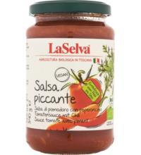 La Selva Spaghettisauce Salsa piccante, Tomatensauce mit Chili, 340 gr Glas
