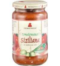 Zwergenwiese Tomatensauce Siziliana - die mediterrane Note mit Oliven, 350 gr Glas