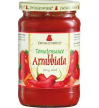 Zwergenwiese Tomatensauce Arrabbiata - feurig scharf mit Pepperoni, 340 gr Glas