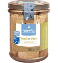 followfish Weißer Thunfisch in Bio-Olivenöl, 200 gr Glas (130 gr)