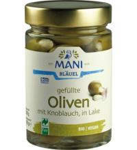 Mani Oliven gefüllt mit Knoblauch, in Lake, 300 gr Glas (180 gr)