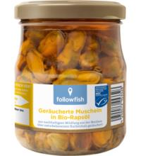 followfish Geräucherte Muscheln in Bio Rapsöl, 200 gr Glas (120 gr)
