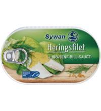 Sywan Heringsfilets in Bio Senf-Dill-Sauce, 200 gr Dose (100 gr)