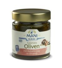 Mani Kalamata Oliven mit Balsamessig, in Olivenöl, 185gr Glas
