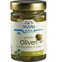 Mani Oliven gefüllt mit Mandeln, in Lake,  280 gr Glas  (170 gr)