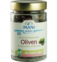 Mani Grüne & Kalamata Oliven, Olivenmix al Naturale, 175 gr Glas