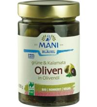 Mani Grüne & Kalamata Oliven, in Olivenöl mit Kräutern, 280 gr Glas  (180 gr)
