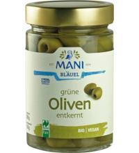 Mani Grüne Oliven, entkernt, in Lake, 280 gr Glas (150 gr)