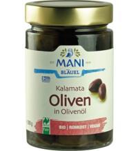 Mani Kalamata Oliven, in Olivenöl, in Rohkostqualität 280 gr Glas  (180 gr)