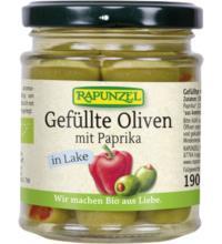 Rapunzel Oliven grün, gefüllt mit Paprika, in Lake, 190 gr Glas (110 gr)