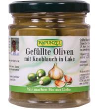 Rapunzel Oliven grün, gefüllt mit Knoblauch in Lake, 190 gr Glas (110 gr)