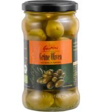 Gustoni Grüne Oliven, mit Stein, in Salzlake, 300 gr Glas (180 gr)
