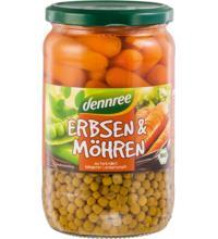 dennree Erbsen & Möhren, 660 gr Glas (420)