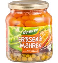 dennree Erbsen & Möhren, 350 gr Glas (215 gr)