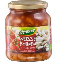 dennree Weiße Bohnen in Tomatensauce, 350 gr Glas