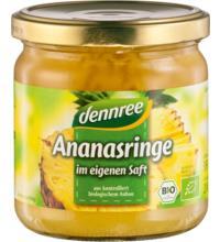 dennree Ananas-Ringe im eigenen Saft, 350 gr Glas (190 gr)