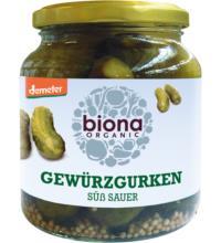 Biona Gewürzgurken süß sauer, 680 gr Glas (350 gr)