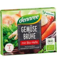 dennree Gemüsebrühwürfel, 66 gr Packung6 Stck à 11 gr für 3 ltr -mit Bio-Hefe-