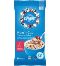 Davert Muesli-Cup Cranberry-Kokos, 55 gr Packung