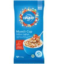 Davert Muesli-Cup Erdbeer-Joghurt, 55 gr Packung