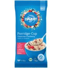 Davert Porridge-Cup Couscous-Cranberry, 65 gr Packung
