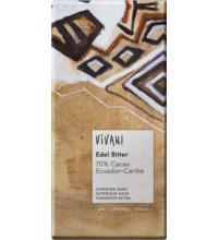 Vivani Edel Bitter Schokolade 70%,  Ecuador, 100 gr Stück