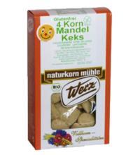 Werz 4-Korn-Vollkorn-Mandel-Keks, 150 gr Packung -glutenfrei-
