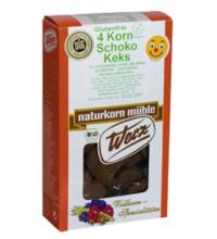 Werz 4-Korn-Vollkorn-Keks Schokoart, 150 gr Packung -glutenfrei-