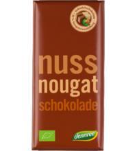 dennree Vollmilchschokolade mit Nougatcremefüllung, 100 gr Stück