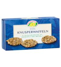 Rosengarten Dinkel Knusperwaffeln, Vollmilch mit Mandelsplitter,  100 gr Packung