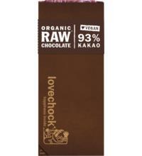 Lovechock Tafel Pur 93% Kakao RAW Chocolate, 70 gr Stück