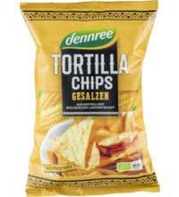 dennree Tortilla Chips gesalzen, 125 gr Packung