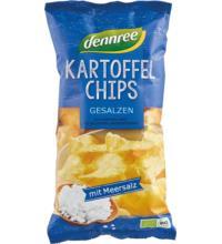 dennree Kartoffelchips gesalzen, 125 gr Packung