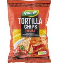 dennree Tortilla Chips Paprika, 125 gr Packung