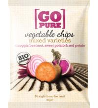 Go Pure Gemüsechips Chioggia beet, sweet & red potato, 90 gr Packung