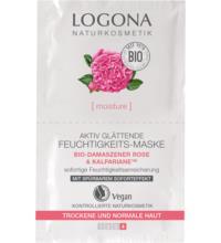 Logona Aktiv glättende Feuchtigkeits-Maske,Bio-Damaszener-Rose, 15 ml Stück