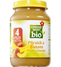Lebenswert bio Pfirsich und Banane, 190 gr Glas