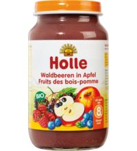 Holle Waldbeeren in Apfel, 220 gr Glas