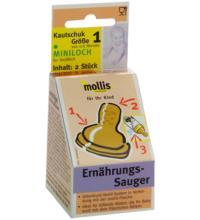 Mollis Kautschuk-Sauger, Miniloch, 2 Stück -Größe 1-