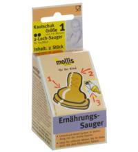Mollis Kautschuk-Sauger, 2 Loch für Tee und Milch, 2 Stück -Größe 1-